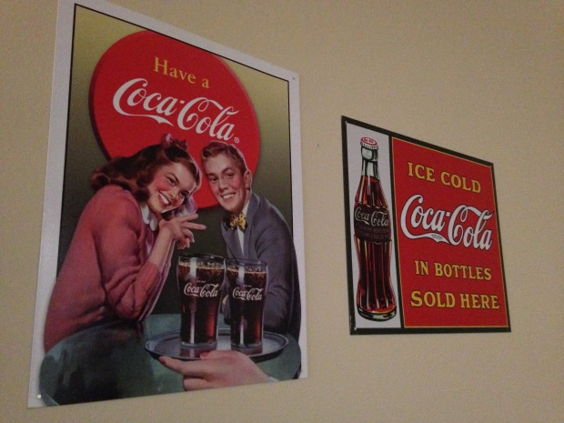 This is how much I love coke - these are hanging on my dining room / kitchen wall.  Okay, so I mainly just like the vintage.