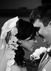 """Kyle and I praying during our """"first look"""" moment right before the ceremony."""